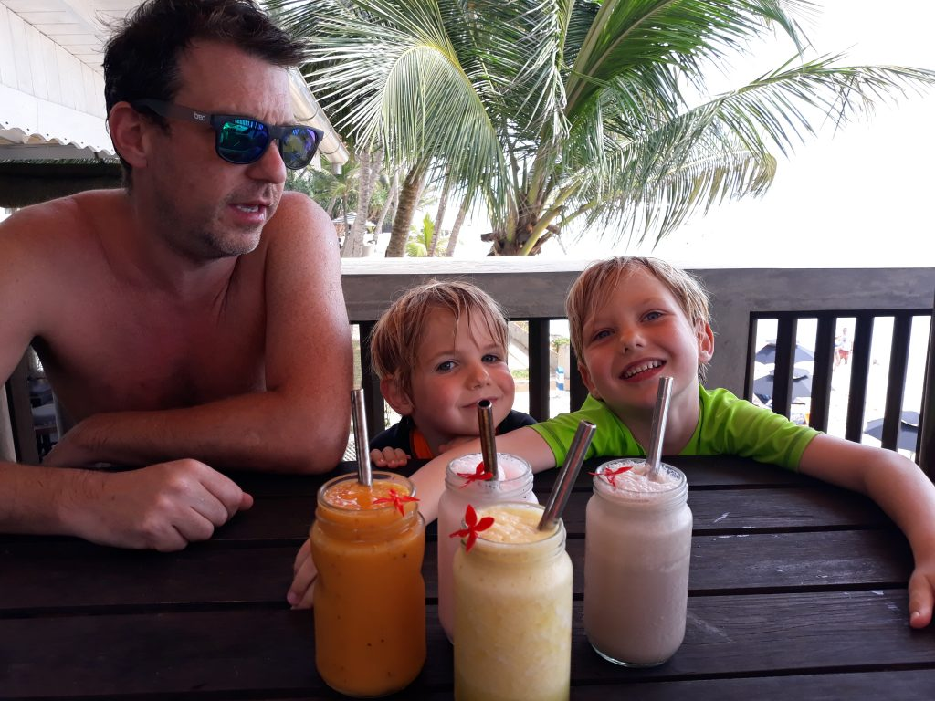 Tasty smoothies at Wijaya Beach Restaurant with incredible views