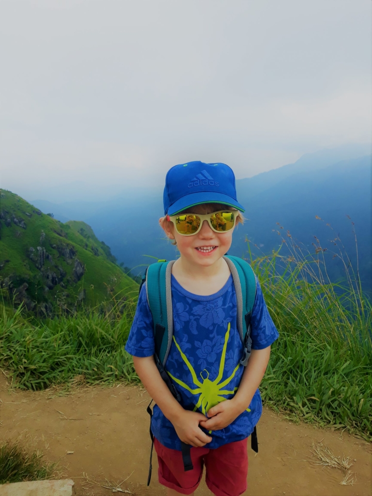 George happy with himself after hiking up Little Adam's Peak in Sri Lanka (and being promised an ice cream for his efforts)