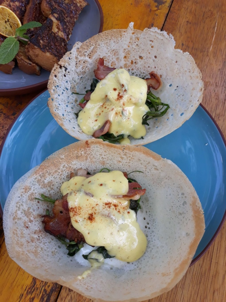 Eggs benedict hoppers at Bedspace Kitchen in Unawatuna
