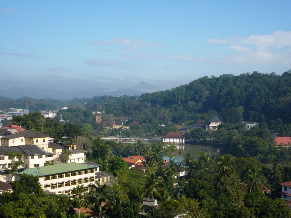 Kandy with the Temple of the Sacred Tooth Relic on the lake