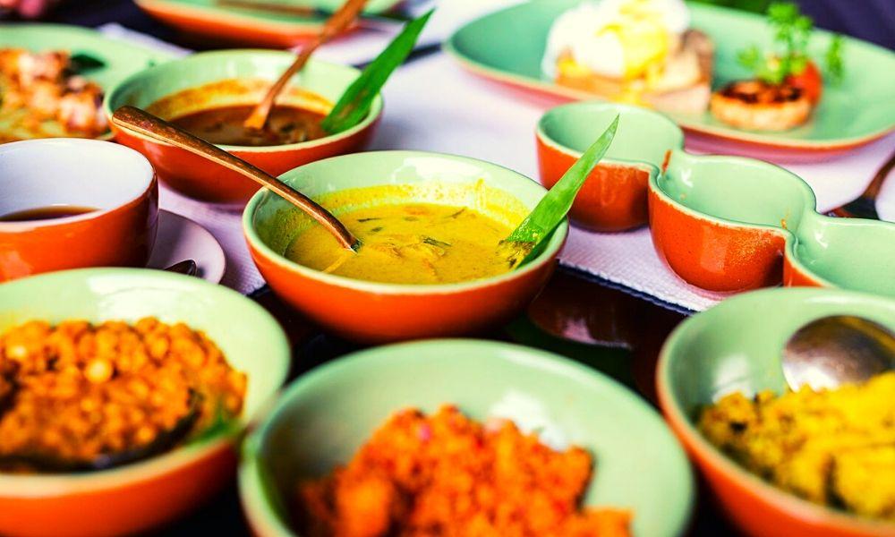 Selection of Sri Lankan food