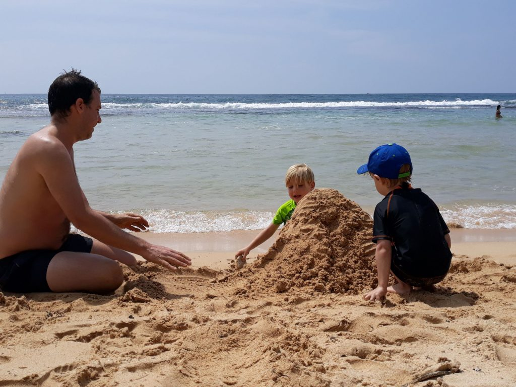 Building sandcastles on Dikwella beach in Sri Lanka