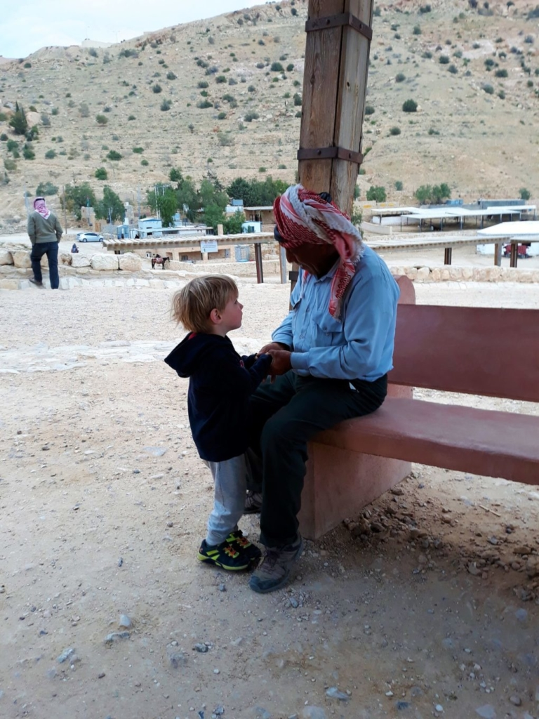 Greeting a carriage driver at Petra with ' As-salam alaykom'