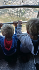 The boys enjoying the views from the Table Mountain cable car