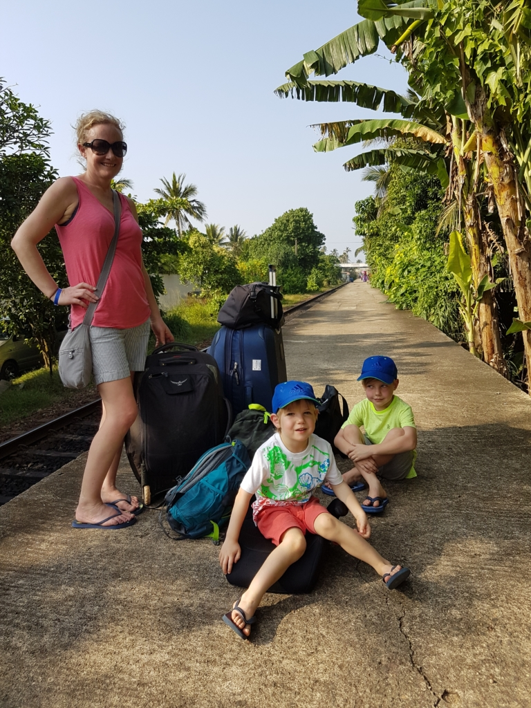 All packed up and ready to catch our train to Galle. Getting on a packed Sri Lankan train is no mean feat and requires teamwork!
