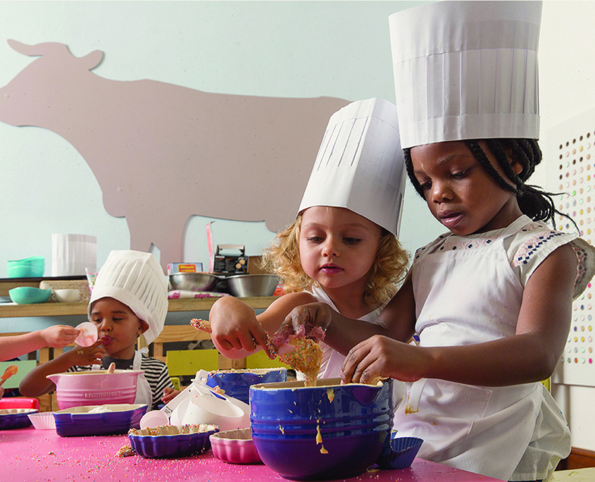 A cooking class for little ones in the children's playroom at Spier