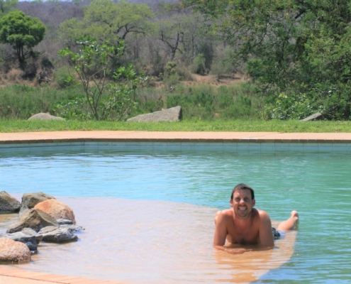 Relaxing and cooling down at the Lower Sabie campsite pool