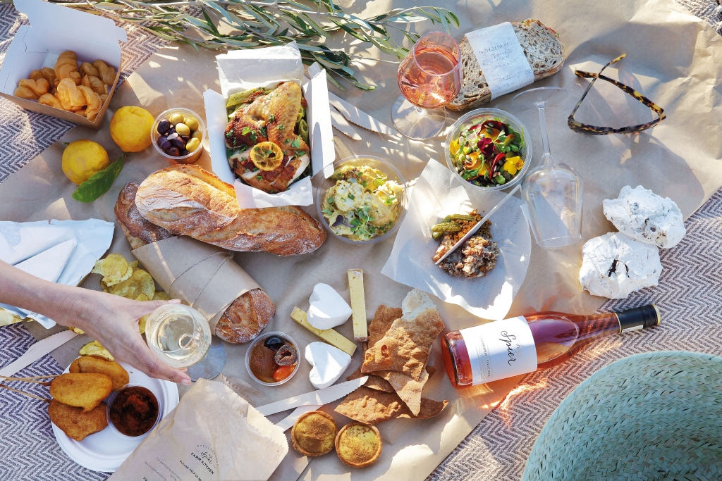 The amazing picnic spread by Spier including a lovely bottle of wine