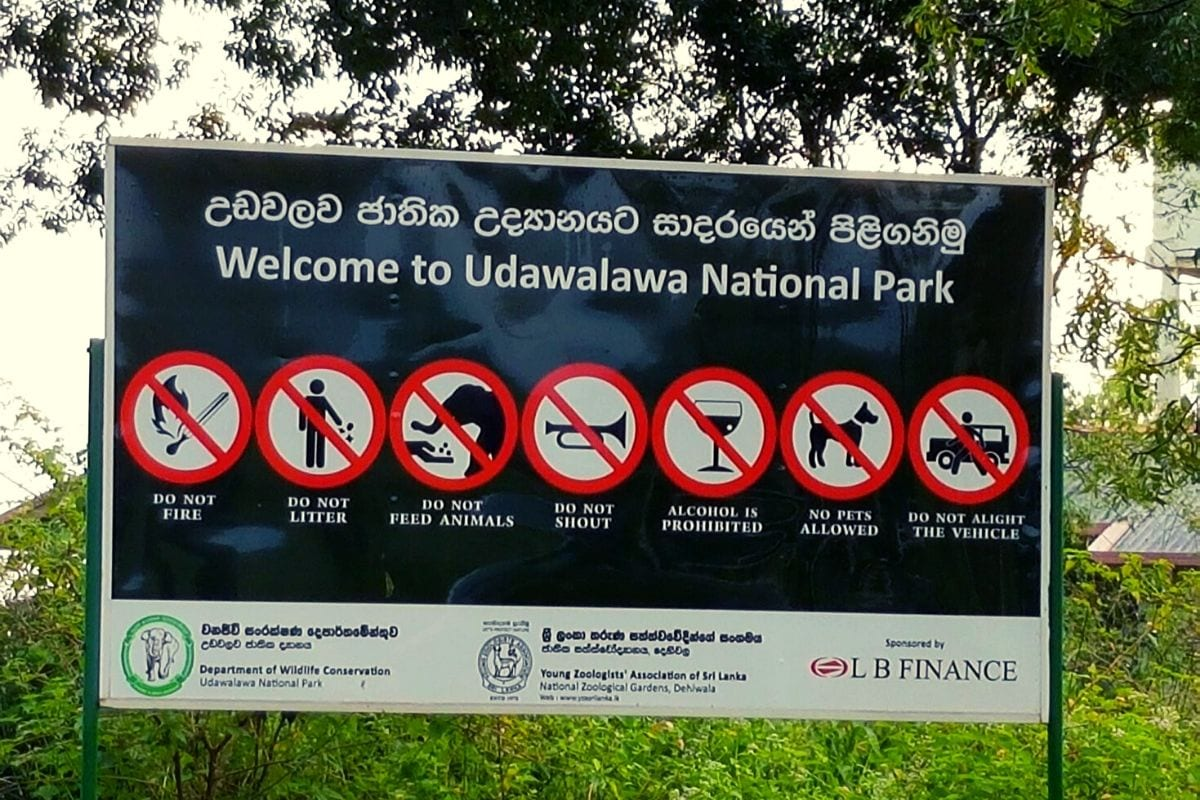 Udawalawe National Park sign