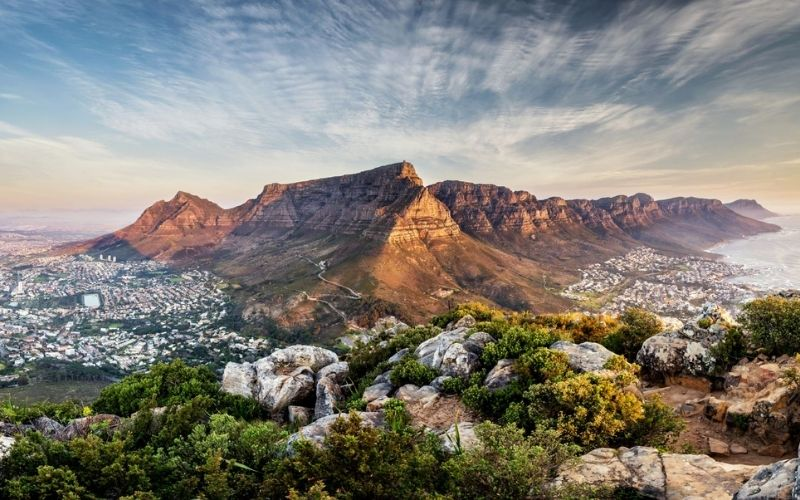 View of Table Mountain in Cape Town at sunset