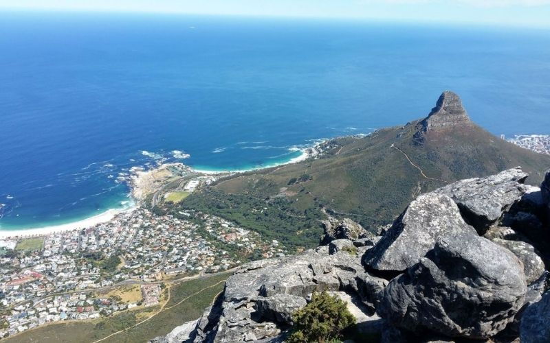 Views of the Cape Town beaches from Table Mountain