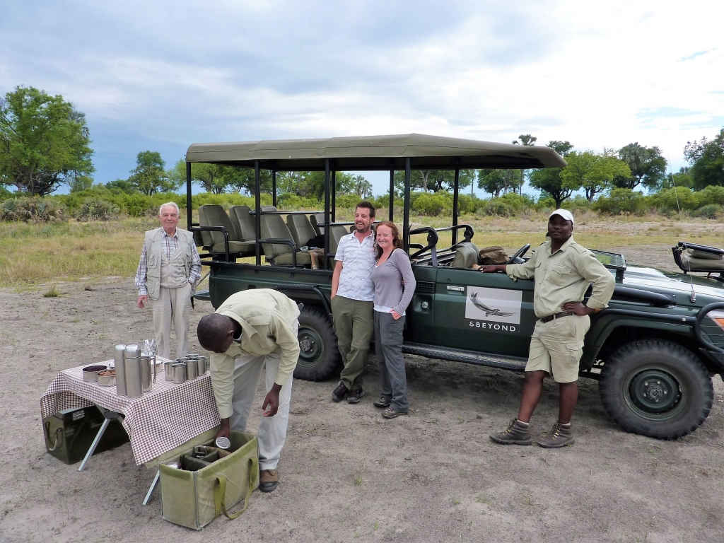 Setting up for a refreshment break during a morning safari in the Okavango