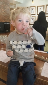 George enjoying the cheese and wine tasting at Fairview