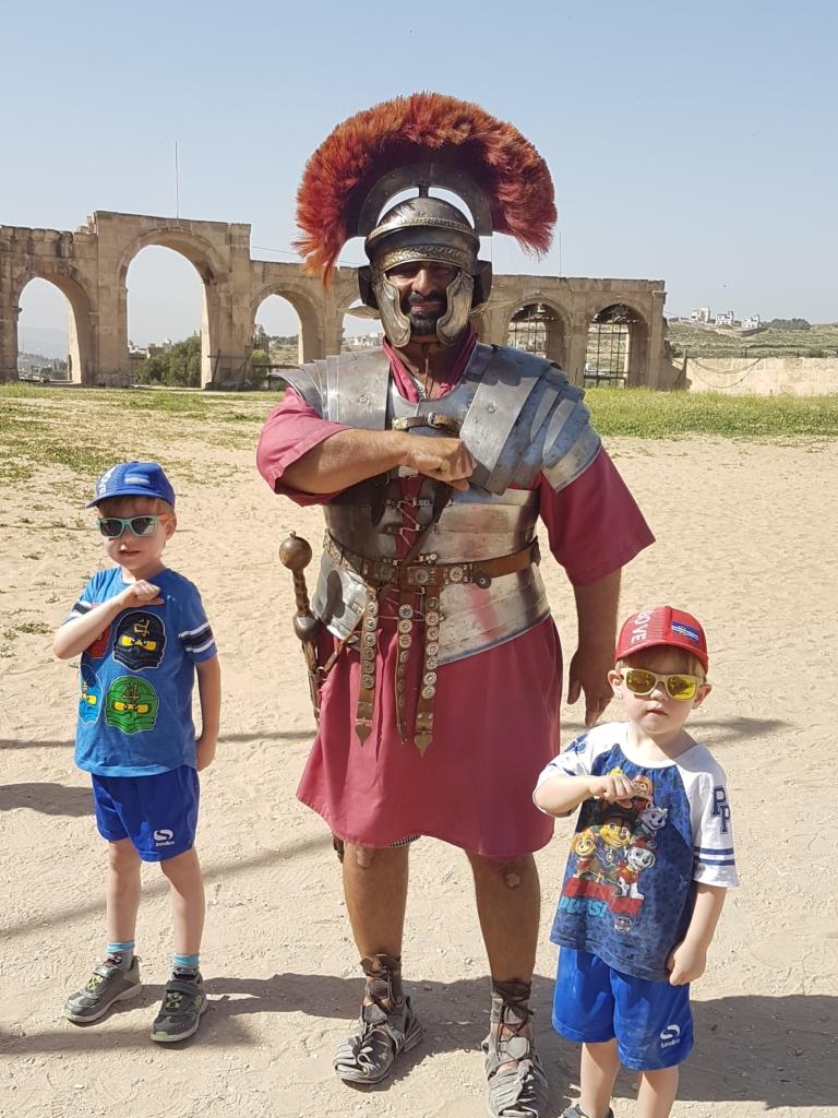 Meeting a gladiator at Jerash