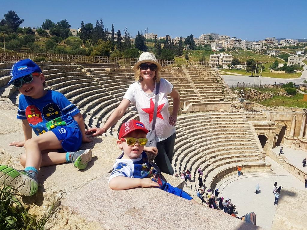 Visiting the amphitheatre at Jerash