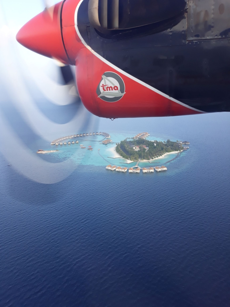 First sighting of the Centara Grand resort from the seaplane