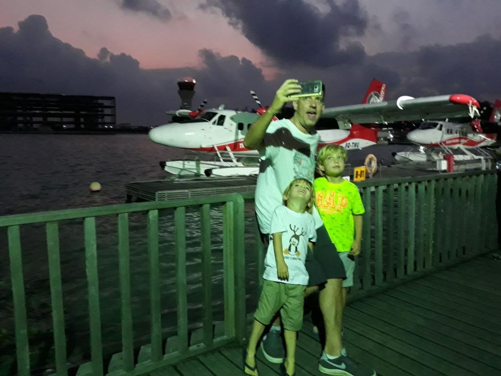 Trans Maldivian Airways seaplane terminal at dawn