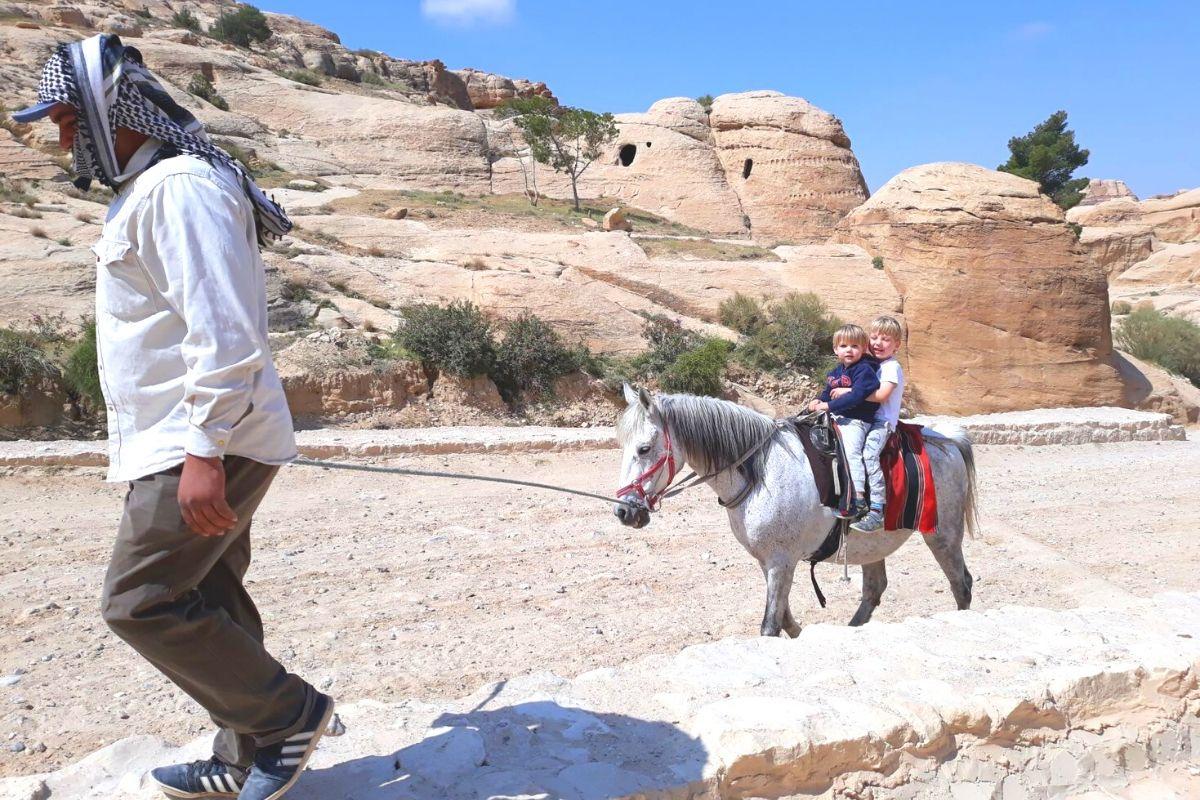 Pony ride along the Siq at Petra
