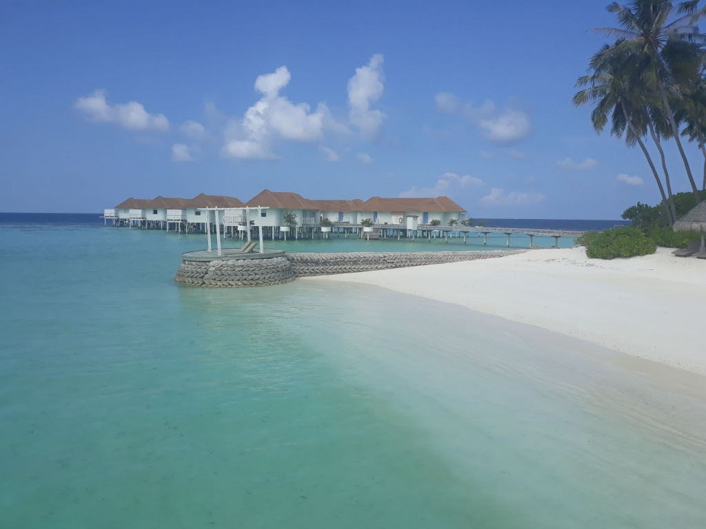 The beautiful crystal waters and white sandy beaches of the Centara Grand Maldives Resort