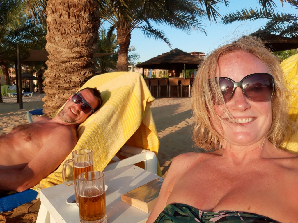 Drinks on the beach at the Movenpick Tala Bay