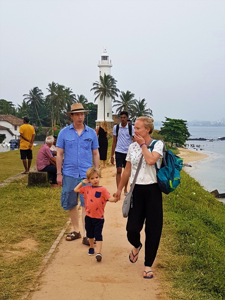Wandering along the fort walls near the lighthouse in the historic Galle Fort