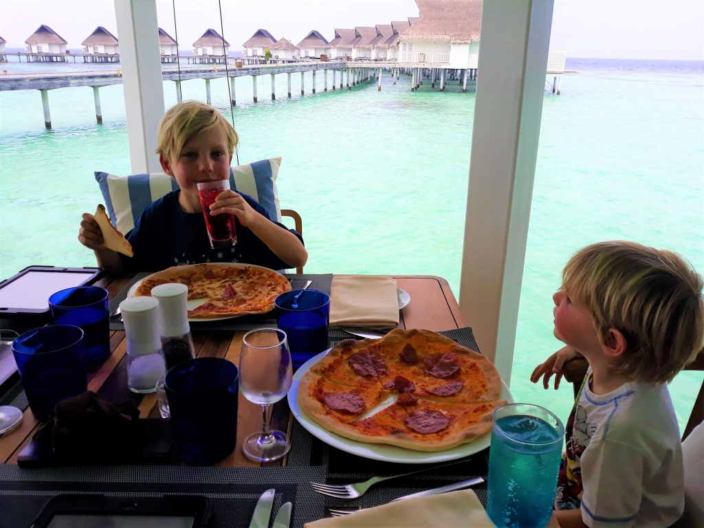 Don't let the pizzas put you off. The boys made them in Kids Club. The food was actually delicious!
