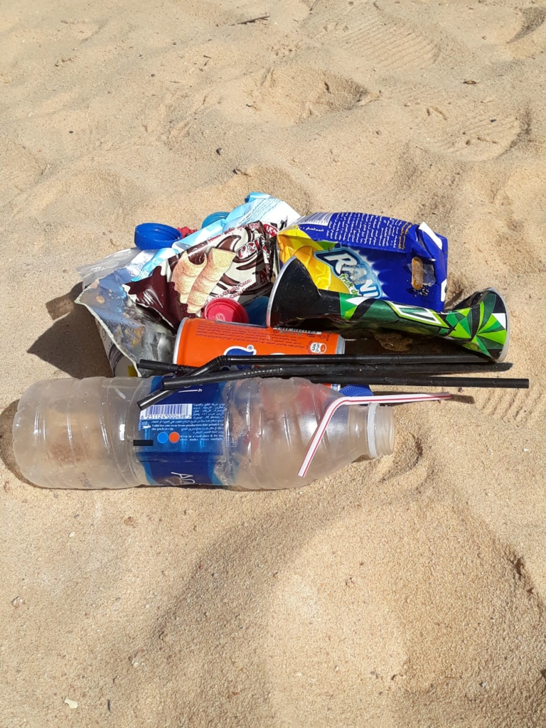 Litter collecting at the Movenpick beach in Tala Bay