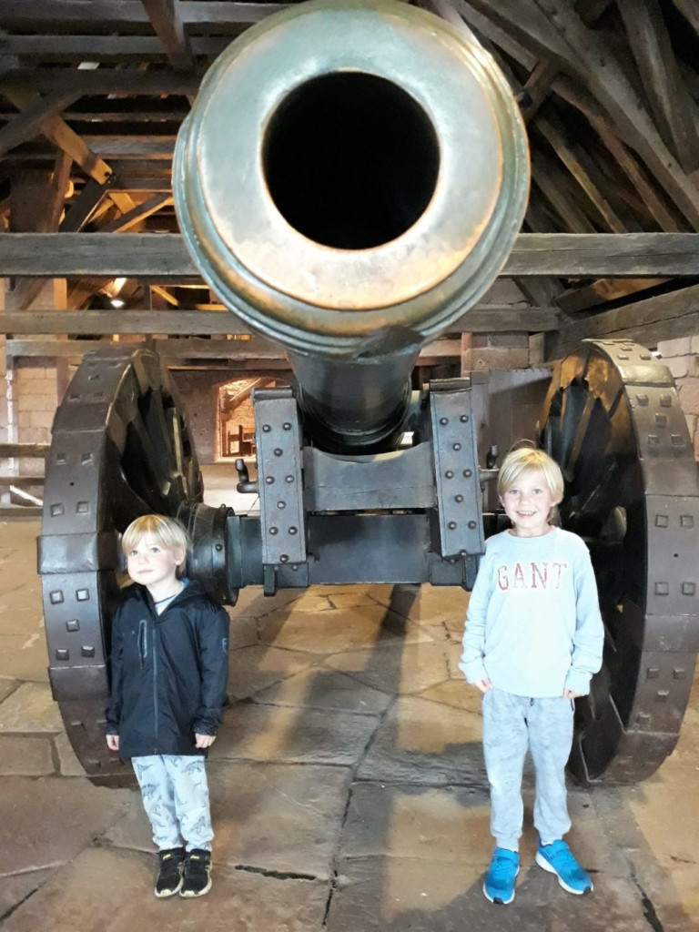 Large canons on display in the towers at Chateau du Haut-Koenigsbourg