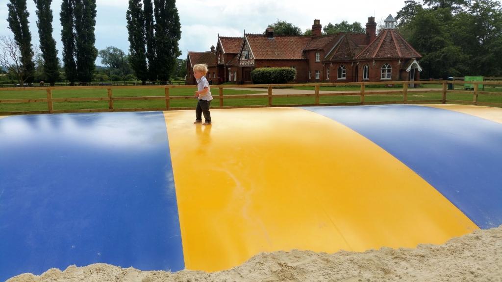 Huge bouncy pillow at Easton Farm Park
