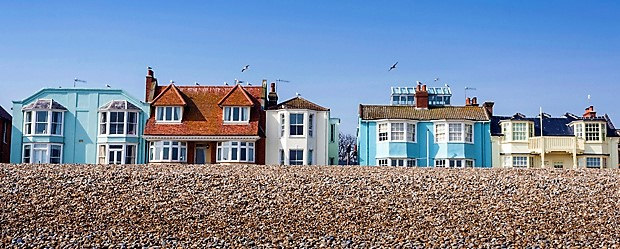 Colourful Victorian seafront houses in Aldeburgh