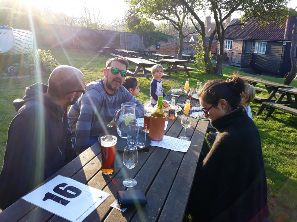The sunny beer garden at the Ship Inn in Dunwich