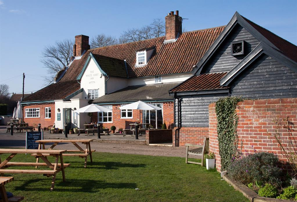 Loads of outdoor seating at the White Hart in Blythburgh