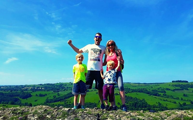 Standing on the top of Thorpe Cloud in the Peak District