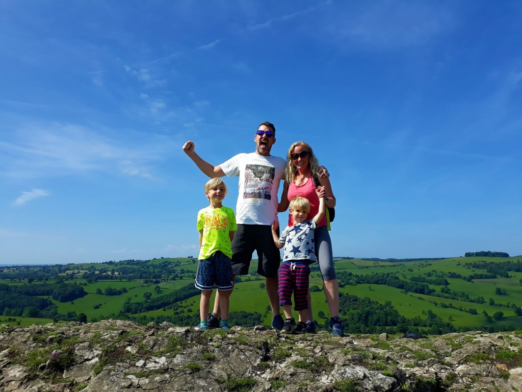 Climbing to the summit of Thorpe Cloud in the Peak District with kids