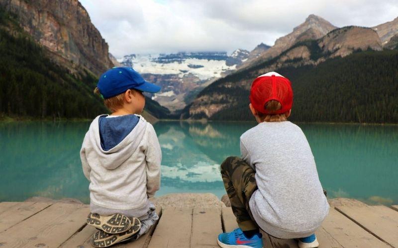 Enjoying the views at Lake Louise.