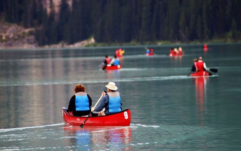 Kayaking on Lake Louise Canada.