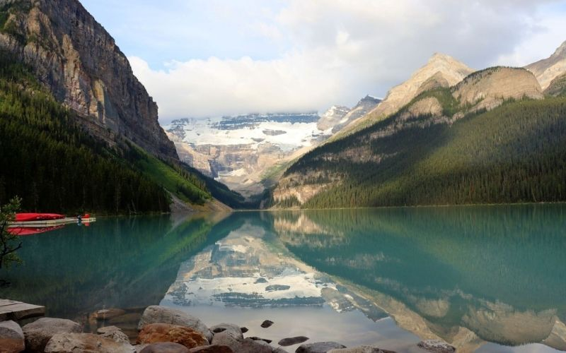 Mountain reflections in Lake Louise in Banff National Park.