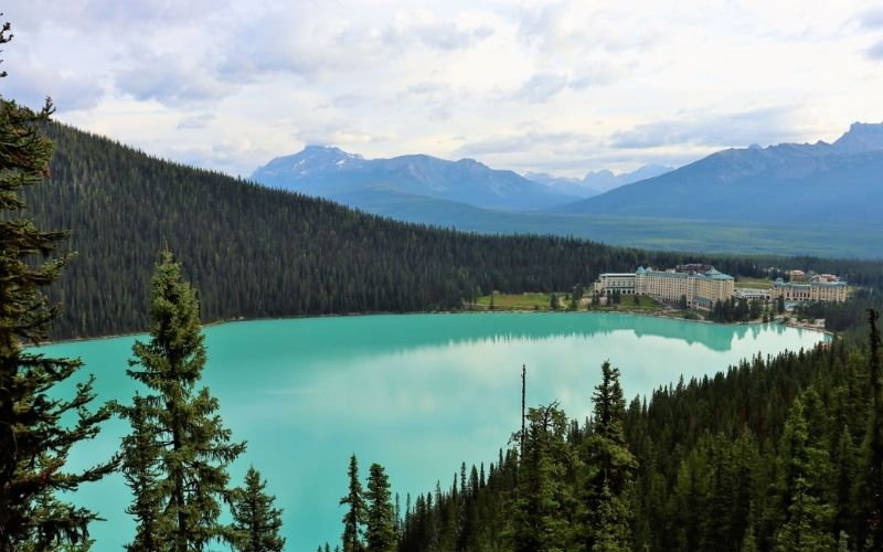 View of Fairmont Chateau Lake Louise from the Fairview Lookout Trail.