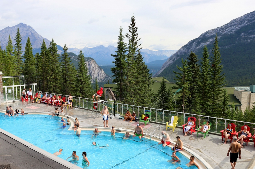 Relaxing in Banff Upper Hot Springs in Banff National Park