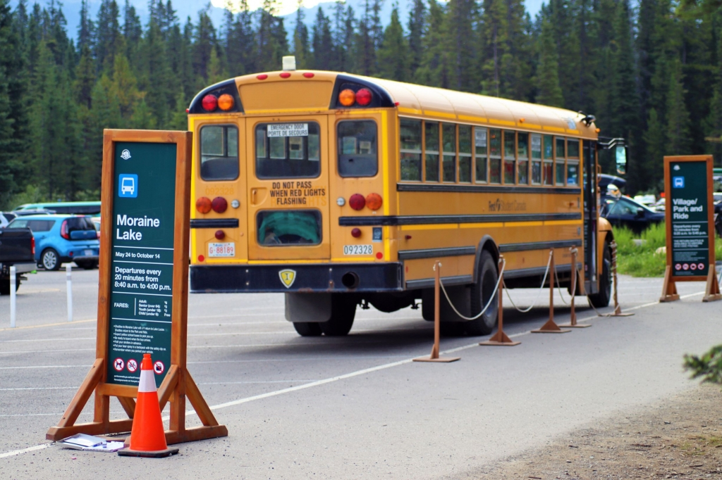 The Lake Louise overflow car park shuttle bus