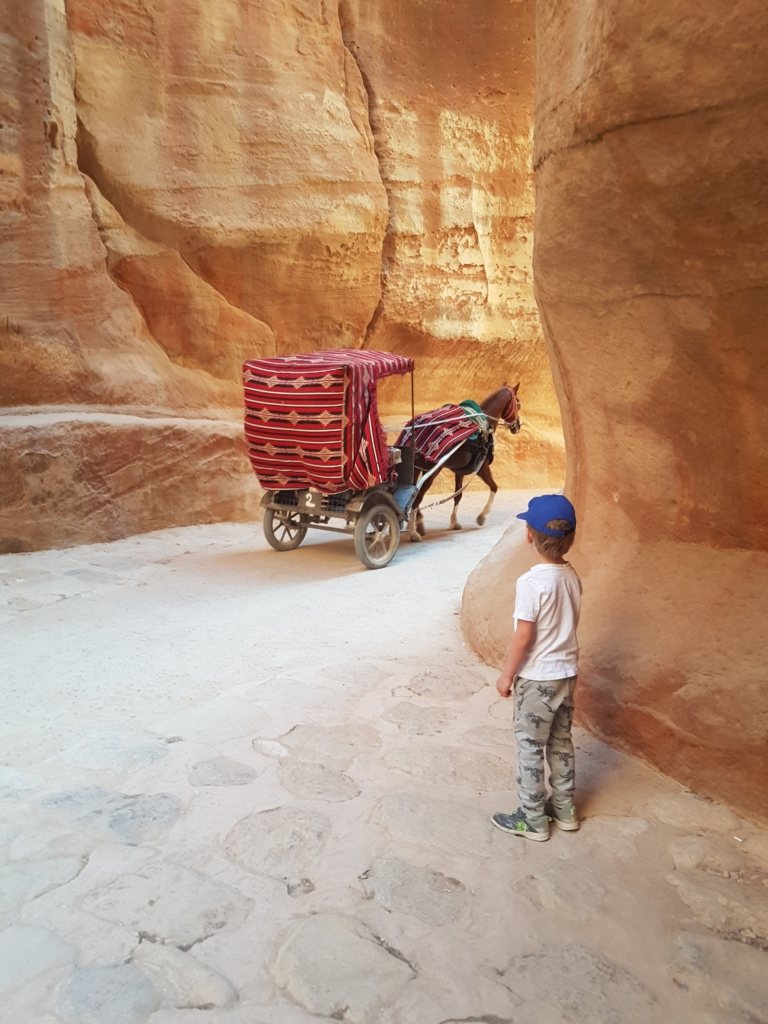 Watching the horse and carts in the Siq in Petra