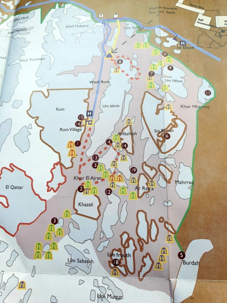 Things to do in Wadi Rum : map of Wadi Rum