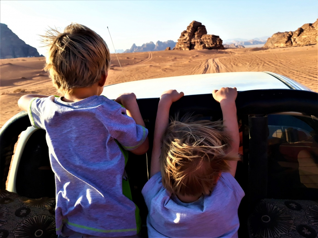 Visiting Jordan with kids: 4x4 tour of Wadi Rum
