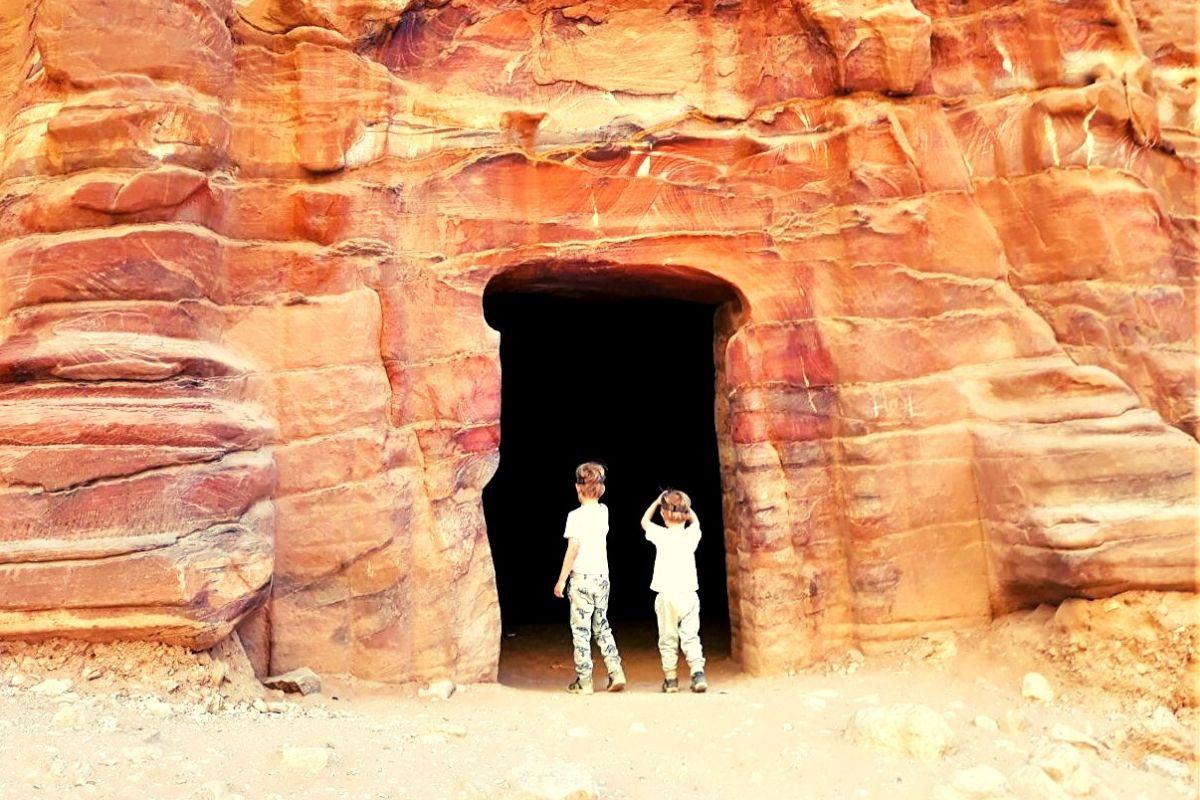 Exploring caves in Petra