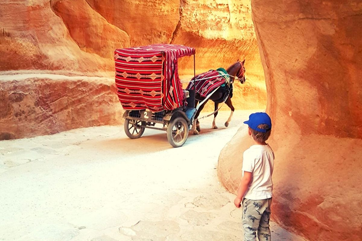 Horse and cart in the Siq at Petra
