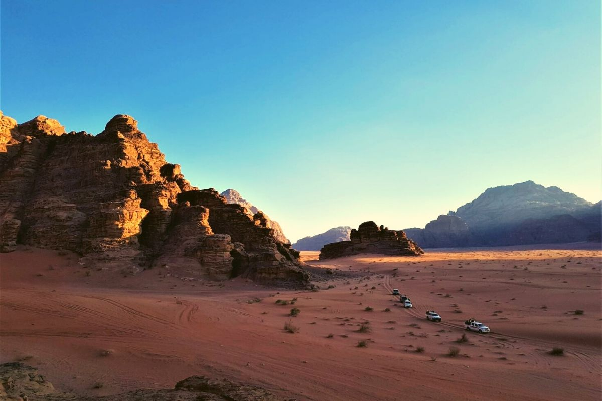 Jeeps in Wadi Rum