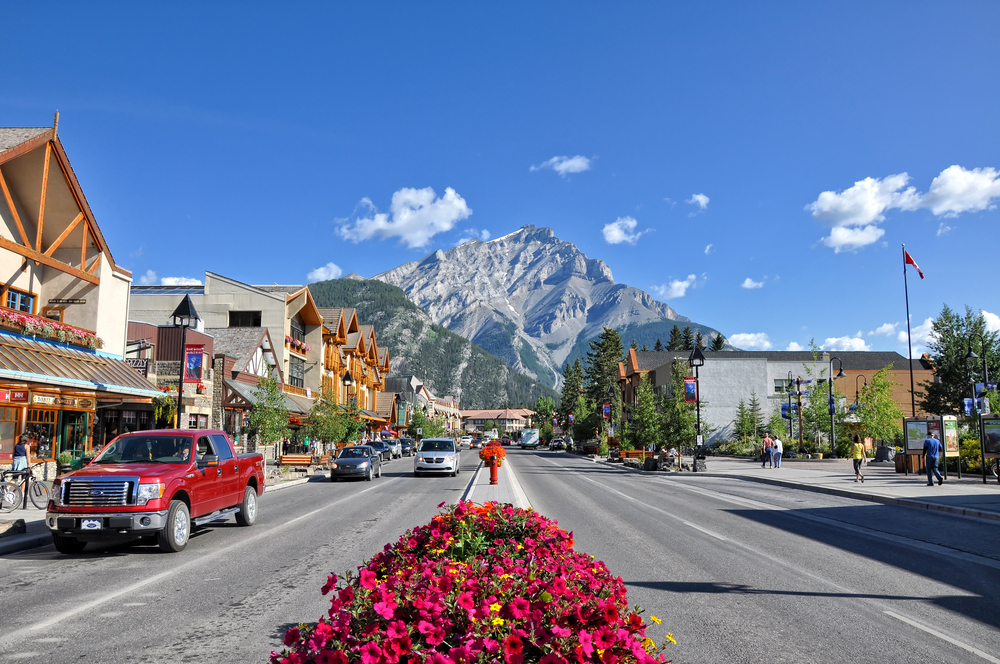 Main street in Banff town