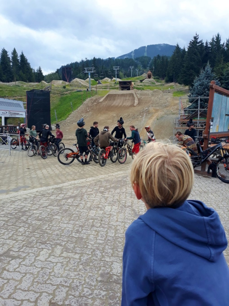 Watching the mountain bikers at Whistler Village
