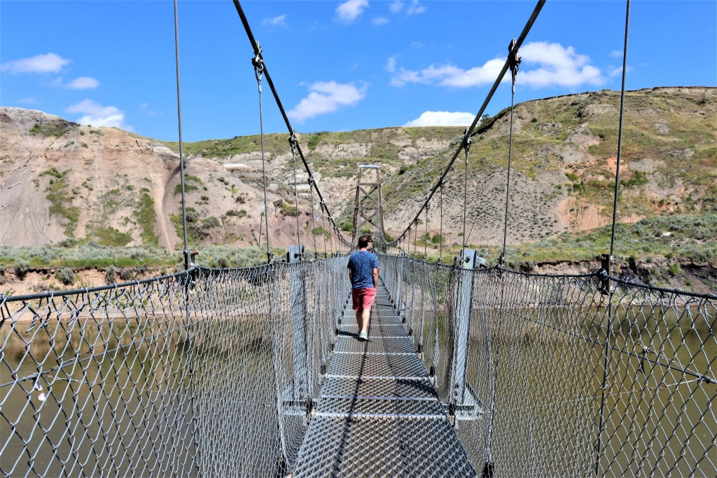 Crossing the Rosedale Suspension Bridge near Drumheller