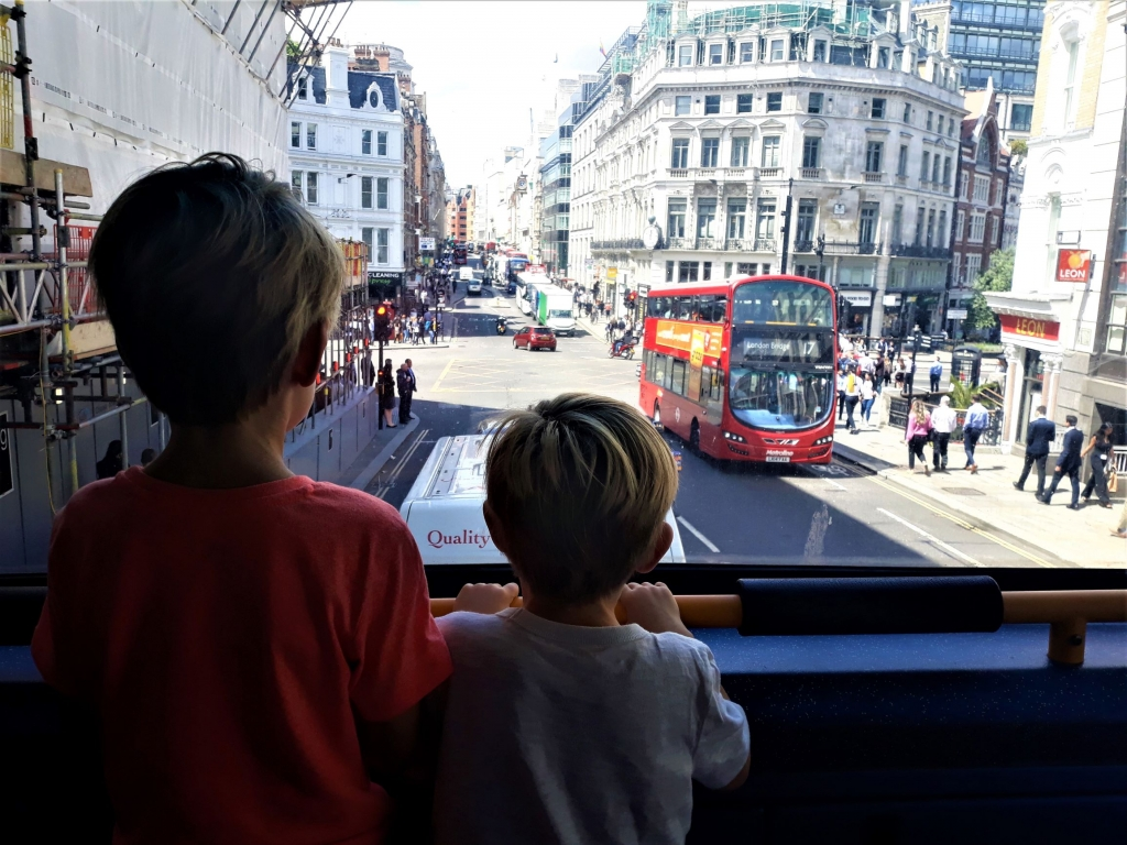 Kids on a London bus
